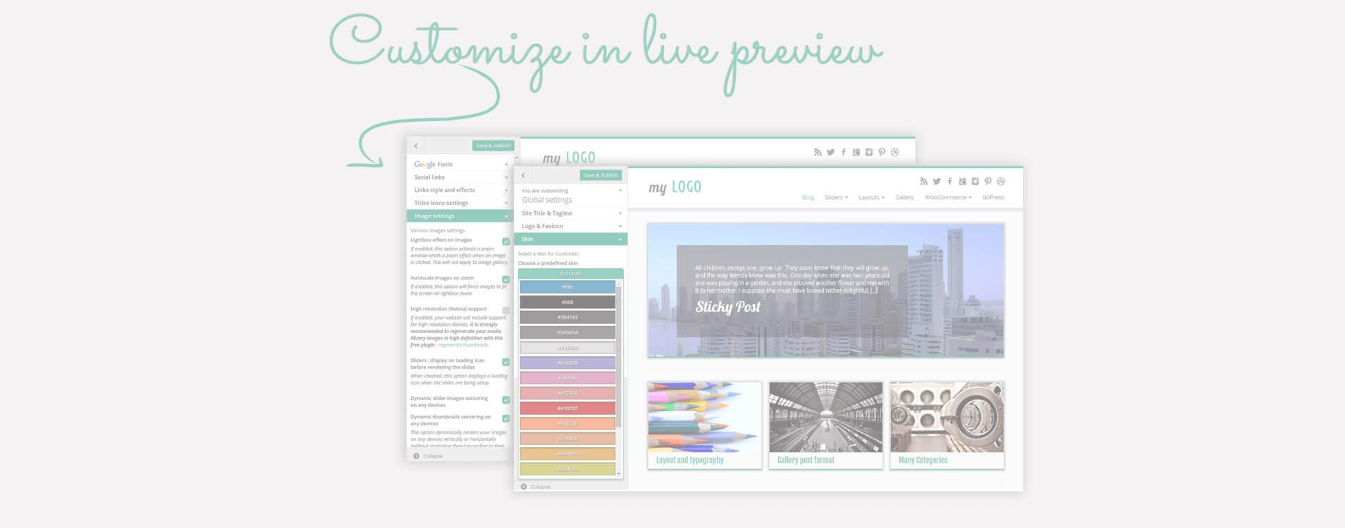Muchas opciones de diseño y estructura están disponibles en la pantalla del personalizador de WordPress: ¡ve tus cambios en directo!